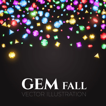 Falling Multicolor Gems. Treasure Design. Abstract Luxury and Game Background. Vector illustration