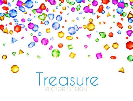落下マルチカラー宝石。トレジャーデザイン。抽象的な贅沢とゲームの背景。ベクトルイラスト