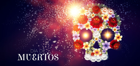 Day of the Dead Background with Traditional Mexican Scull with Flowers and Light Effects. Dia de los Muertos.Vector illustration