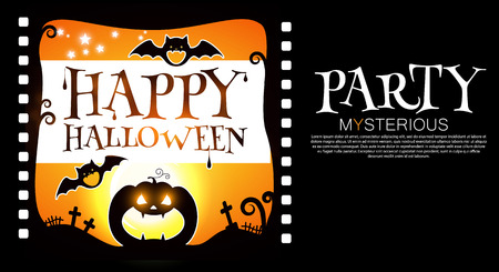 Happy Halloween Flyer Template. Spooky Party Invitation with Pumpkin and Bats. Vector illustration Illustration