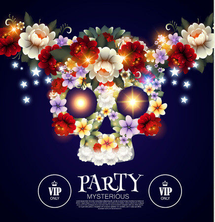 Dia de los Muertos. Mysterious Party. Day of the Dead Background with Traditional Mexican Scull with Flowers and Light Effects.