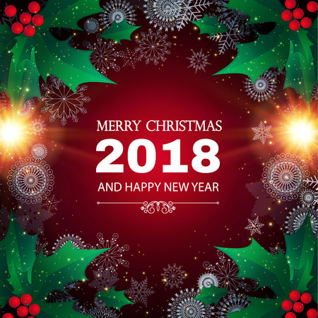 Merry Christmas and Happy New 2018 Year background with holly, snowflakes and colorful flash lights. Vector illustration