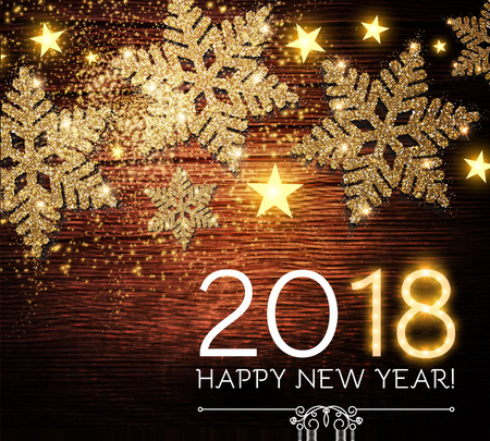 Happy New 2018 Year Background with Shining Gold Textured Snowflakes on Wood Texture. Vector illustration Illustration