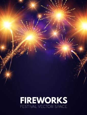 Fireworks. Shining Background. Vector illustration