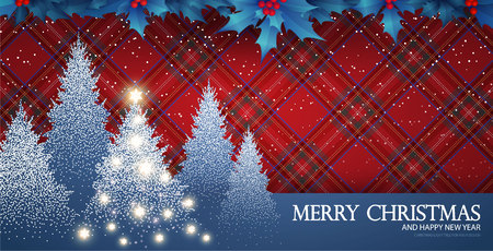 Merry Christmas Card Template with Fir Tree, Snow, Holly Berry, Tartan Pattern, Flash Effect and Shining Snowflakes. Vector illustration Vettoriali