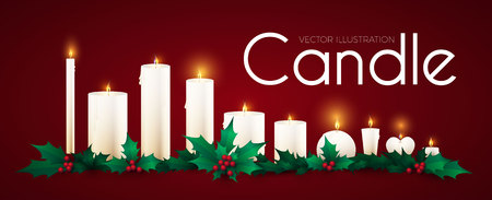 Realistic Candles Set with Fire and Holly Berry. Christmas Decoration. Vector illustration
