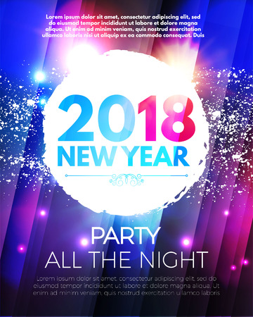 Happy New 2018 Year Party Poster Template with Light Effects and Place for Text. Vector illustration