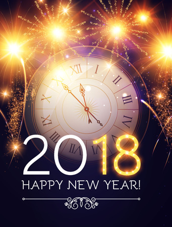 Happy New 2018 Year Background with Clock and Fireworks. Illustration