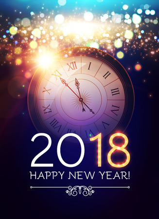 Happy New 2018 Year Background with Clock, Snowflakes and Bokeh Effect. Ilustração