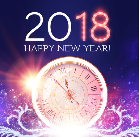 Happy New 2018 Year Background with Clock, Flash Light and Frost Glass Pattern. Illustration