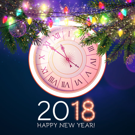 Happy New 2018 Year Background with Clock, Fir Tree Branches and Light Garland.