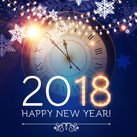 Happy New 2018 Year Background with Clock, Snowflakes and Bokeh Effect. Illustration