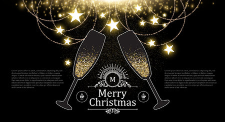 Christmas Design Template with Champagne Glasses, Gold Effects, Stars and Flash light.
