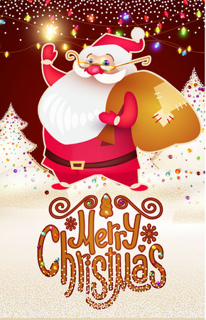Smiling Santa Claus. Christmas Card Template with Snow and Lettering.