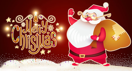 Smiling Santa Claus. Christmas Card Template with Snow and Lettering. Vector illustration