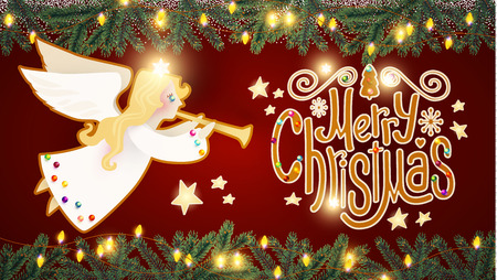 merry christmas cute background with angel playing the trumpet christmas candy lettering snow and