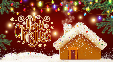 Merry Christmas Cute Background with Gingerbread House, Christmas Candy Lettering, Biscuit Pines, Caramel Snow and Lights.
