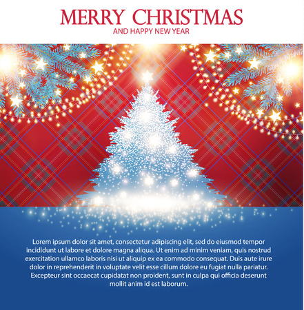 Merry Christmas Card Template with Fir Tree, Snow, Tartan Pattern, Light Effect and Shining Snowflakes.
