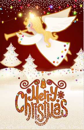 Merry Christmas Cute Background with Angel Playing the Trumpet, Christmas Candy Lettering, Glazed Fir Tree ,Snow and Lights. Vettoriali