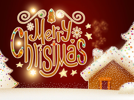 merry christmas cute background with gingerbread house christmas candy lettering fir tree branches - Merry Christmas Cute