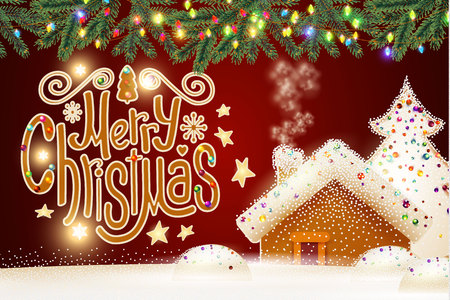 merry christmas cute background with gingerbread house christmas candy lettering fir tree branches