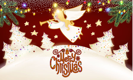 merry christmas cute background with angel playing the trumpet christmas candy lettering glazed fir