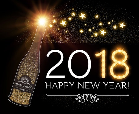 Happy New 2018 Year and Christmas Design Template with Champagne Glasses, Gold Effects, Bow, and Flash light. Vector illustration Ilustração