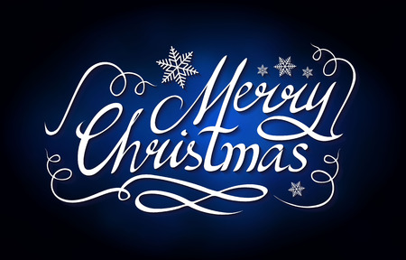 Merry Christmas Calligraphic Lettering with Elegant Gold Effects on Blue Background. Vintage Shining Design. Vector illustraion Stock Photo