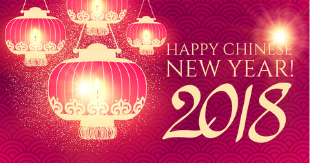 Happy Chinese 2018 New Year Background with Lanterns and Lights.