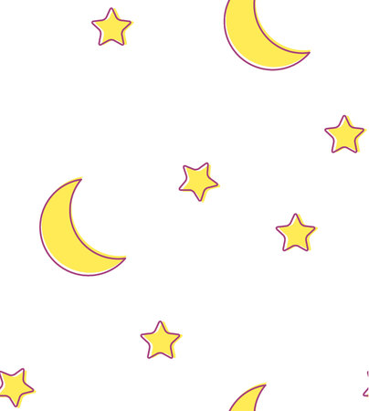 Nursery baby seamless pattern with crescent moon and stars. Night sky design vector illustration.