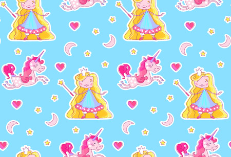 Nursery Baby Seamless Pattern with Little Fairy Princess, Magic Unicorn, Magic Wand, Pink Heart, Crescent Moon and Stars.
