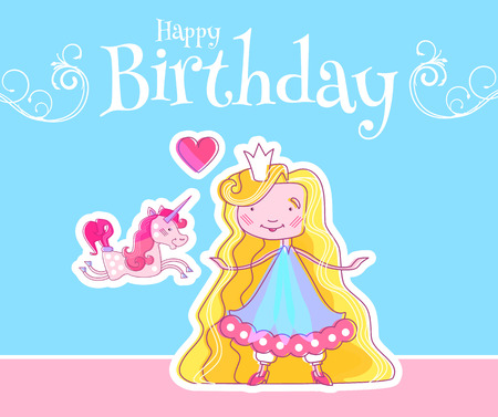 Happy Little Princess Birthday Card Template With Fairy Girl