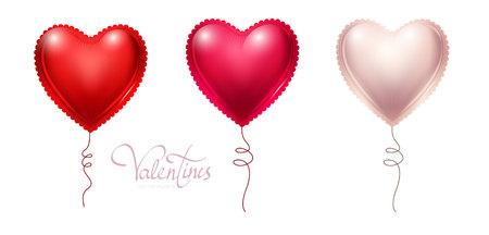 Heart Balloons Set. Happy Valentines Day. Vector illustration