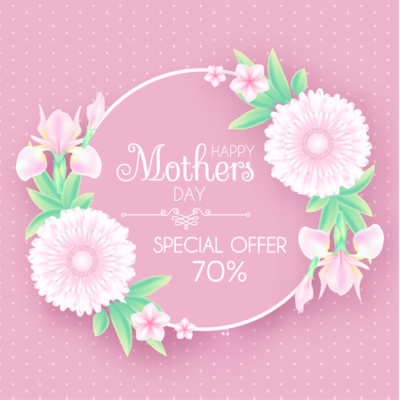 Mothers Day Greeting and Invitation with Soft Flowers. Cute Card Design Template for Birthday, Anniversary, Wedding, Baby and Bride Shower and so on. Vector illustration