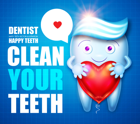 Healthy Tooth with Toothpaste, Speech Bubble and Glossy Heart Balloon Flyer Template . Cartoon Character. Stomatology Design Template. Dental Health Concept. Oral Care.