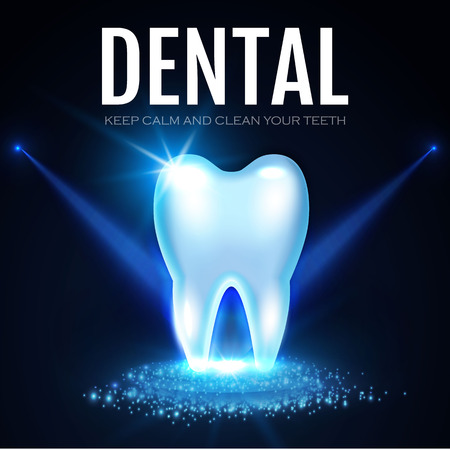 Shining Helthy Tooth with Spotlights. Fresh Stomatology Design Template. Dental Health Concept. Oral Care.. Vector illustration Standard-Bild - 94527686