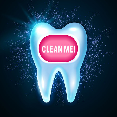 Shining healthy tooth with lights, cleaning teeth fresh Stomatology design template. Dental health concept, oral care vector illustration. Standard-Bild - 94540970
