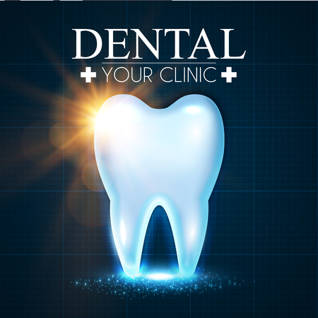 Shining Healthy  Tooth with Lights. Fresh Stomatology Design Template. Dental Health Concept. Oral Care. Standard-Bild - 94653859