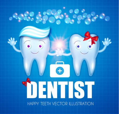 Healthy Teeth with Toothpaste, Bubbles, Red Bow and Speech Bubble. Cartoon Character Boy and Girl. Stomatology Design Template. Dental Health Concept. Oral Care.