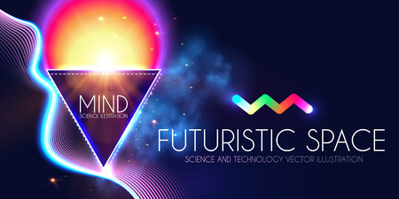 Abstract Geomrtic Banner with Neon Lights. Trendy Party Poster Template. Futuristic Space. Magic and Mystery Design.
