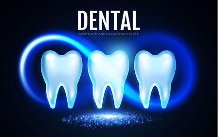 Diente brillante con luces. Plantilla de diseño de estomatología. Concepto de salud dental. Cuidado bucal. Ilustración vectorial
