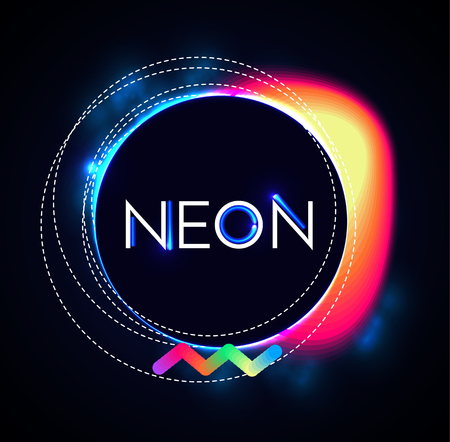 Abstract Trendy Shining Neon Banner. Colorful Cover and Poster Pemplate. Vector illustration
