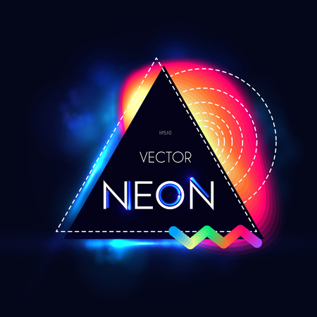 Abstract Trendy Shining Neon Banner. Colorful Cover and Poster Pemplate.