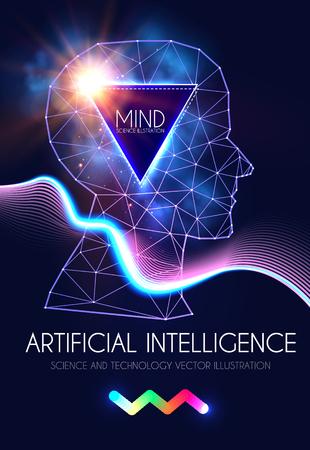 Kunstmatige intelligentie. Menselijk bewustzijn. Wetenschappelijk digitaal ontwerpsjabloon.