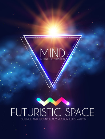 Abstract futuristic poster banner with neon lights illustration Vettoriali