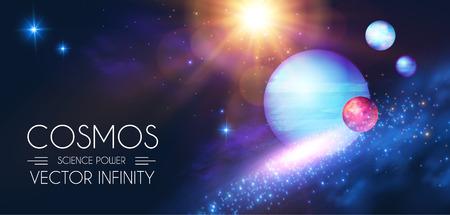 Przestrzeń świeci tło z realistycznymi planetami i gwiazdami 3d. Projektowanie wszechświata i kosmosu. Światło galaktyki. Szablon nauki. Ilustracje wektorowe