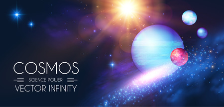 Space Shining Background with Realistic 3D Planets and Stars. Universe and Cosmos Design. Light of a Galaxy. Science Template.
