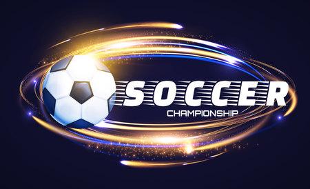 Soccer Ball with Light Effects. Football Power Design. Vector illustration