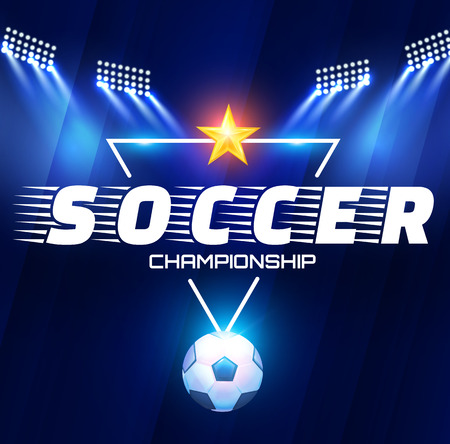 Football Arena with Lights. Soccer Stadium Projectors and Spotlights with Ball. Vector illustration