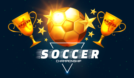 Soccer Win. Football Championship Design Template with Gold Cup, Ball and Stars.